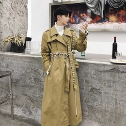 mens trench coat belts NZ - 2020 New Irregular Drawstring Long Trench Coat Men Spring Autumn Casual Loose Coat Mens Lace Up Patchwork Trench DS50765