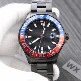 Round Folding Tables Australia - Luxury watch TAG automatic mechanical men's watch [GMT can be monotonous] blue and red table ring rotation table ring folding buckle, 43mm