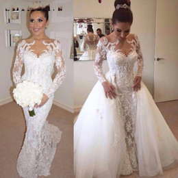 Wedding Dress White Detachable Train Australia - New Arabic Midwest Abaya Cheap white Ivory Plus Size Lace mermaid Beach wedding dress Detachable Train Lace Chapel Train Bridal Gowns