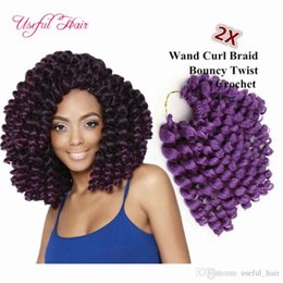 cheap crochet hair UK - brazilian cheap 8inch wand curl bouncy twist crochet hair extensions Janet Collection synthetic braiding hair ombre crochet hair bundles