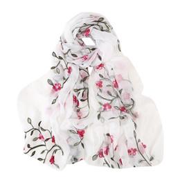 $enCountryForm.capitalKeyWord UK - Women Chiffon Scarves Elegant Floral Printed Women Scarf Chinese Unique Designer Flowers Birds Scarves Long Wrap