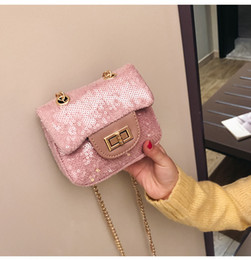 China Brand Design Children Chain Small Messenger Bag Mini Sequin Girl Fashion Purses Clutch Candy Color Lingge Korean Change Money Bag LE322 supplier small animal skulls wholesale suppliers