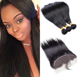 black hair weaving styles Canada - Cheap Virgin Brazilian Hair 3 Bundles With Lace Frontal Natural Black Kinky Straight Weave Hair Extensions Styles For Wholesale