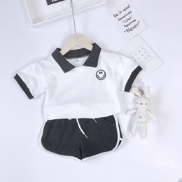 $enCountryForm.capitalKeyWord NZ - Toddler Little Baby Boy Girl Cotton Short Sleeveless Tee Polo T Shirt Tank Top Shorts Pant 2PC Set Outfit