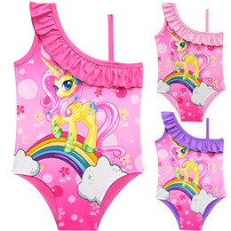 One Pieces Cartoon Australia - 2019 New kids swimwear Cartoons Baby Girls UniCorn Beach SwimSuits Summer One-Shoulder One-Pieces bathing suits kids boutique Cosplay