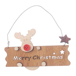 wholesale carved wood pendants Australia - Merry Christmas Letter Elk Shape Hanging Xmas Tree Pendant Wood Carving Board Party Home Garden Door Window Xmas Decoration