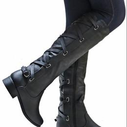 272b222ea Masorini Fashion Women PU Leather Knee-high Biker Casual Boots Autumn Winter  Female Metal Decoration Low Heel Zip Boots W-219