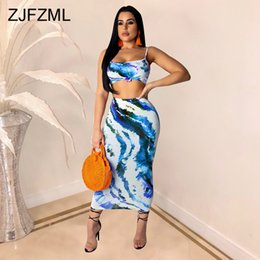 6d8f3185746 Sexy Two Pieces Sets Women Print Club Outfits Spaghetti Strap Backless Crop  Top And Mid-Calf Skirts Summer 2 Piece Matching Set