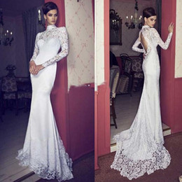 Winter t shirts long neck online shopping - 2020 Modern High Neck Long Sleeve Lace Wedding Dresses Backless Fitted Mermaid Bridal Gown Custom made Vestios De Festa