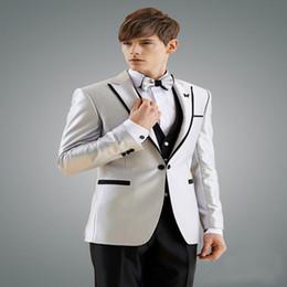 $enCountryForm.capitalKeyWord Australia - 2019 Man Suit New Design Groom Tuxedos Black Edge Groomsman Suit for Man Clothes Custom Made Wedding Suit (Jacket +Pants+Vest) YM