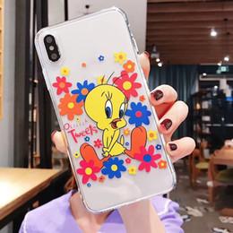 Опт Мультфильм ТПУ Прозрачный чехол для мобильного телефона Синий Красный цветок Маленькая желтая утка Симпатичный шаблон для Iphone XS MAX XR X 6 6S 7 8 Livefashion