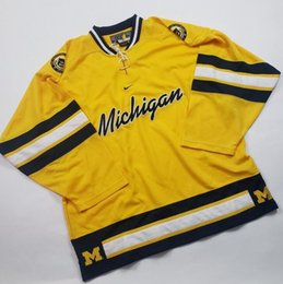7b80c044e Vintage MICHIGAN WOLVERINES NCAA Hockey Jersey Embroidery Stitched  Customize any number and name Jerseys