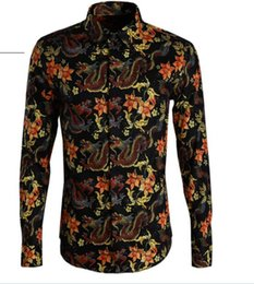 mens casual slim dragon NZ - Free Shipping 2019 New Arrived Original Popular Style Dragon&Flowers Printed Clothes Mens Slim Long-sleeved Casual Shirt Hot Sale