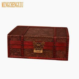 Discount locking metal storage box - Elegant Vintage Metal Lock Desktop Storage Jewelry Box Cases Wooden Pirate Treasure Chest Hot Sales Manual Casket Boxes