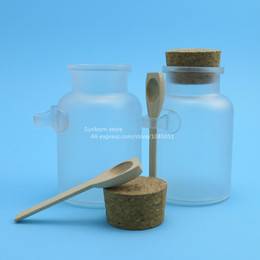 Frosting cream online shopping - 100 x g big frosted ABS plastic cosmetic cream container with wooden spoon plastic bathsalt jars