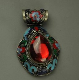 $enCountryForm.capitalKeyWord Australia - Chinese Handwork Old Tibet Silver Inlay Jade Cloisonne Flower Pendant mk