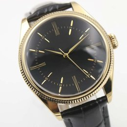 Chinese  40MM Black Dial Gold Case Automatic Mens Watch Watches With A Black Alligator Leather Strap Fixed Bezel Index Hour Markers manufacturers