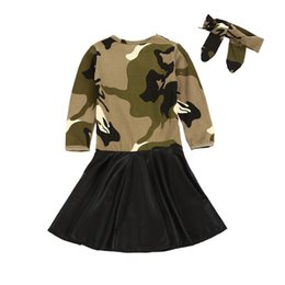 $enCountryForm.capitalKeyWord UK - new baby Camouflage dress cotton PU Princess dresses with headbands fashion Kids Clothing Boutique girls Ball Gown 2019 B11