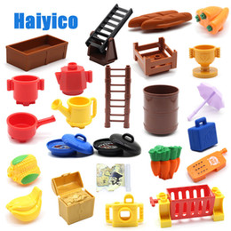 toy baskets Canada - Large Particles Building Blocks Stairs Food Fruit Container Basket Compatible With Duplo Sets Accessories Bricks Diy Baby Toys