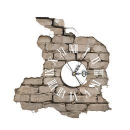 Chinese  3D Wall Clock Art Clock Wall Sticker Decals Creative DIY Cracking Break Wall Modern Home Decor manufacturers