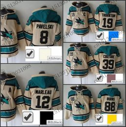 $enCountryForm.capitalKeyWord Australia - Factory Outlet, 8 Joe Pavelski Old Time Hoodie Jersey San Jose Sharks Sweatshirt Stitched High Quality New Arrival Cream With Blue