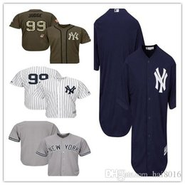 72acfd0f7 Mens Yankees 99 Aaron Judge Baseball Jersey Navy Blue White Gray Grey 2018  All Star Players Weekend Green Salute Team Logo