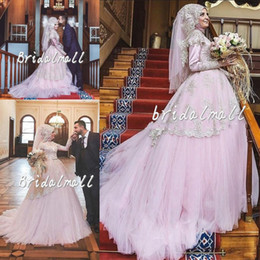 279b235093c High Neck 2019 Pink Dubai Muslim Wedding Dresses With Hijab Ball Gown  Turkish Bridal Gowns Lace Appliqued Arabic Bride Dress Robe De Mariee