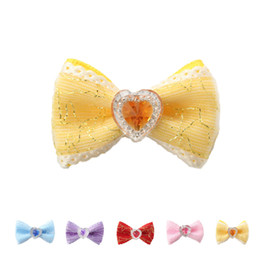 $enCountryForm.capitalKeyWord UK - 100PCS Mix Color Handma Rhinestone Heart-shaped Decorate Dog Bow Hair Little Flower Bows For Dogs 6029021 Pet Grooming Accessories