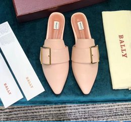 half dragged shoes 2019 - G1025 2019 new women's half-slippers fashion half-drag classic women's round head and pointed shoes in a varie