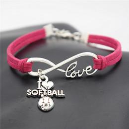 $enCountryForm.capitalKeyWord Australia - Handmade Woven Rose Red Leather Suede Rope Adjustable Bracelets Fashion Infinity Love I Heart Softball Charm Jewelry Gift For Women Men Kids