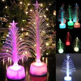 Christmas trees fiber optiC lights online shopping - Colored Fiber Optic LED Light up Mini Christmas Tree with Top Star Battery Powered DTT88