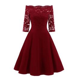 $enCountryForm.capitalKeyWord UK - Three Quarter Sleeve Loose black lace dress Round Neck Collar Soft Women Ladies Evening Party Dress High Quality in Three Colour