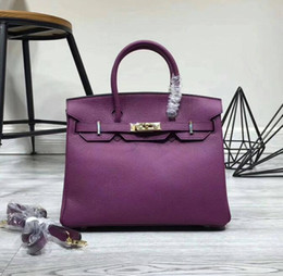 Black plum dress online shopping - 35CM CM CM Brand women Totes Genuine leather Bags With better lock Fashion lady Handbag Factory Real Image All colors