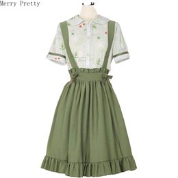 Wholesale blouse skirt style resale online - Womens Two Piece Set Peter Pan Collar Short Sleeve Blouse Ruffles Patchwork Mini Strap Pleated Skirt Sweet Style A line Skirt