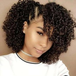 Kinky Curly Human Hair Afro Wigs Australia - Afro Kinky Curly Human Hair Lace Front Wigs for African American Brazilian Remy Lace Wig Side Part Baby Hair 130%density