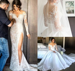Sheath Wedding Dresses Split Australia - High Split Lace Steven Khalil Wedding Dresses with Detachable Skirt Sheer Neck Long Sleeves Sheath Overskirts Bridal Gown 2019