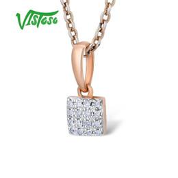 14k Gold Coin Pendant Australia - Vistoso Gold Pendants For Women Authentic 14k 585 Rose Gold Sparkling Diamond Simple Square Pendant Wedding Band Fine Jewelry Y19052301