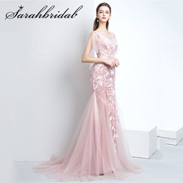 Rose Evening Australia - Dusty Rose Youth Evening Dresses New Arrivals Mermaid With Train Lace Tulle Trumpet Sleeve Lace Up Back Party Prom Gown