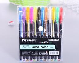 $enCountryForm.capitalKeyWord Australia - Hot 12 color fresh flash pen DIY student graffiti coloring stationery supplies stationery highlighter gouache mini wholesale