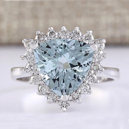 sky blue ring NZ - New Fashion Silver Rings Triangle Cut Sky Blue Cubic Ziconia Crystal Ring For Anniversary Women Jewelry Gift L4K216