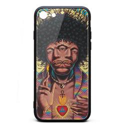 Bumpers Phone Cases UK - IPhone 8 Case,iPhone 7 Case Jimi Hendrix Rick Jacobi 9H Tempered Glass Back Cover TPU Bumper Shock Absorption Phone Case