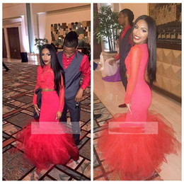 $enCountryForm.capitalKeyWord Australia - 2019 Jewel Two Piece Black Girl African Prom Dresses Mermaid Lace Appliques Red Lace Long Sleeves Formal Dress Vestidos De Evening Wear