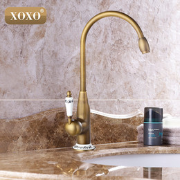 Kitchen Faucet Antiques Australia - XOXOnew style antique brass finish faucet kitchen sink basin faucets mixer tap with ceramic hot and cold 50041BT-2