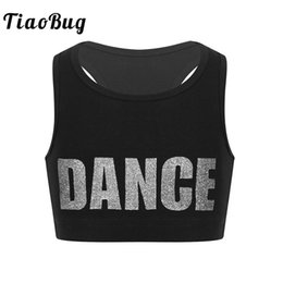 TiaoBug Kids Girls Sleeveless Lettere brillanti DANZA Printed Crop Top Sport Gymnastics Ballet Tops Stage Performance Costume di danza