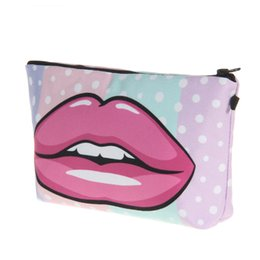 lip print bag Australia - Sexy Ladies Lips 3D Printing Fashion Cosmetic Bag Handbag Multifunctional Outgoing Receiving Bag