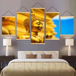 $enCountryForm.capitalKeyWord Australia - Print Wall Art Canvas Pictures 5 Piece Buddha Statue Painting Poster Solid Wood Hanging Scrolls Home Decoration For Living Room