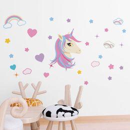 Stickers Girls Bedrooms Australia - Fairy Unicorn Rainbow Art Wall Decal Removable Bedroom Sticker Girl Room Decor Wall Sticker