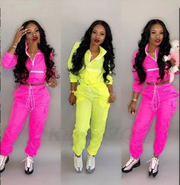 SportS Suit women S pink online shopping - Women Patchwork Tracksuits Cardigan Pants set Autumn Winter Zipper Outdoor Gym Sports Suit Outfits Girls Clothing Set sets OOA6368