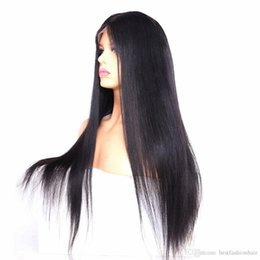 cheap human hair lace fronts UK - Cheap Human Hair Lace Front Wigs Silky Straight Pre Plucked Hairline Glueless Virgin Brazilian Full Lace Wig For Black Women 180 250 Density