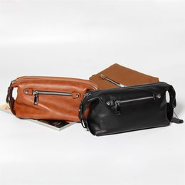 Hand Bag Manufacturers NZ - New Leather Personality Trend Large Capacity Clutch Bag Men's First Layer Leather Casual Hand Bag Fashion Handbags Manufacturers Direct Batc